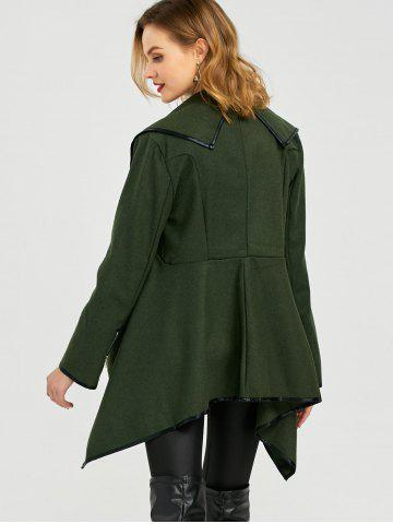 Unique Long Sleeve Long Woolen Cardigan Type Coat - ARMY GREEN 2XL Mobile