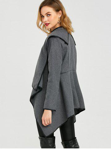 Buy Long Sleeve Long Woolen Cardigan Type Coat - DEEP GRAY XL Mobile