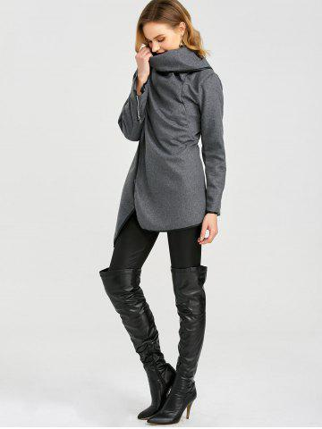 Hot Long Sleeve Long Woolen Cardigan Type Coat - DEEP GRAY XL Mobile