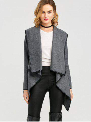 Online Long Sleeve Long Woolen Cardigan Type Coat - DEEP GRAY XL Mobile