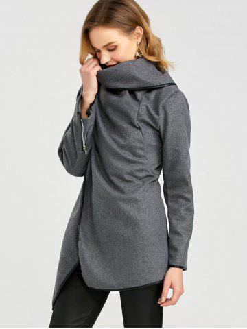 Discount Long Sleeve Long Woolen Cardigan Type Coat - DEEP GRAY XL Mobile