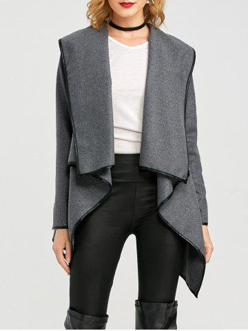 Outfit Long Sleeve Long Woolen Cardigan Type Coat - DEEP GRAY XL Mobile