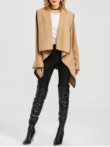 Fashion Long Sleeve Long Woolen Cardigan Type Coat - CAMEL 2XL Mobile