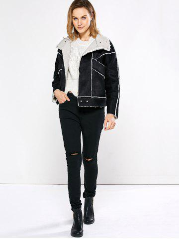 Online Chic Turn Down Collar Spliced Chunky Women Coat - M BLACK Mobile