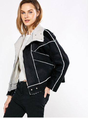 Shops Chic Turn Down Collar Spliced Chunky Women Coat - M BLACK Mobile