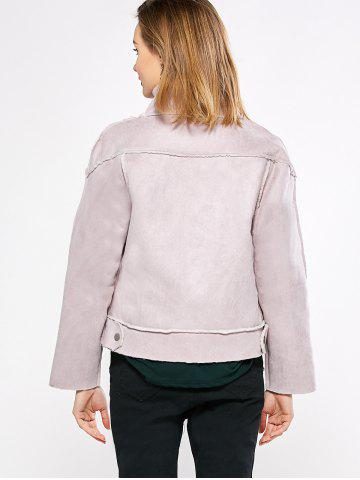 Store Chic Turn Down Collar Spliced Chunky Women Coat - M PINK Mobile