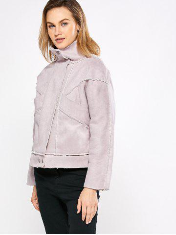 Online Chic Turn Down Collar Spliced Chunky Women Coat - M PINK Mobile