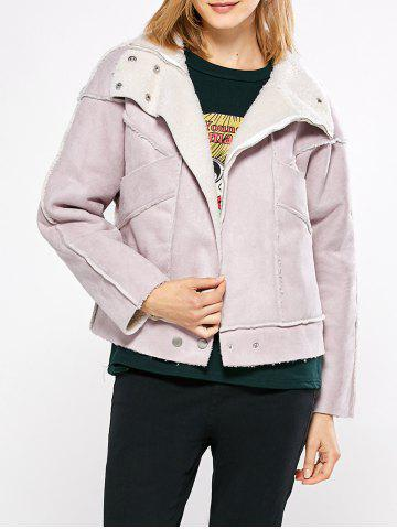 Shops Chic Turn Down Collar Spliced Chunky Women Coat - M PINK Mobile