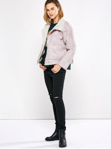 Hot Chic Turn Down Collar Spliced Chunky Women Coat - L PINK Mobile