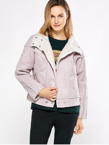 Online Chic Turn Down Collar Spliced Chunky Women Coat - L PINK Mobile