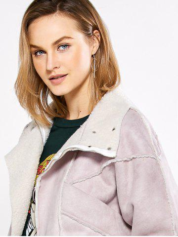 Fashion Chic Turn Down Collar Spliced Chunky Women Coat - L PINK Mobile