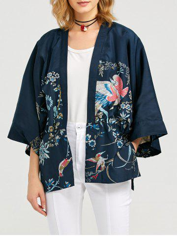 Collarless Long Sleeve Pocket Design Women Print Cardigan