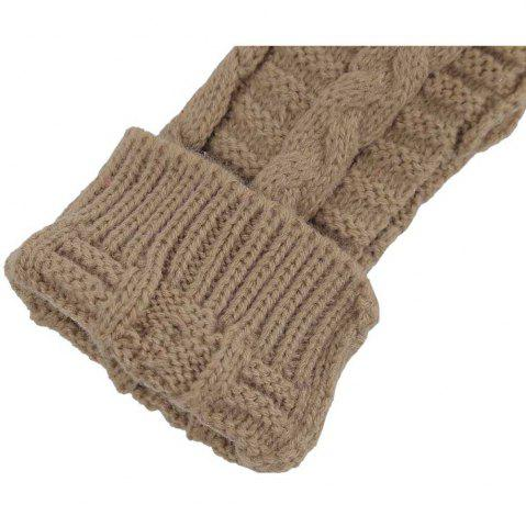 Chic Winter Open Finger Solid Color Warm Knitted Gloves for Women - KHAKI  Mobile