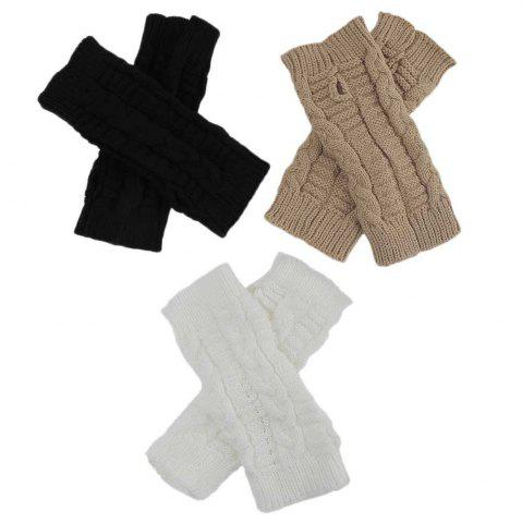 Latest Winter Open Finger Solid Color Warm Knitted Gloves for Women - KHAKI  Mobile