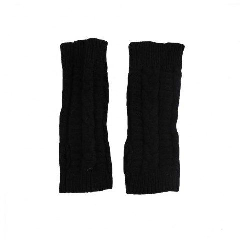 Latest Winter Open Finger Solid Color Warm Knitted Gloves for Women - BLACK  Mobile