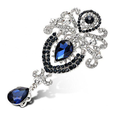 Latest Water Drop Fake Crystal Rhinestoned Brooch - BLUE  Mobile