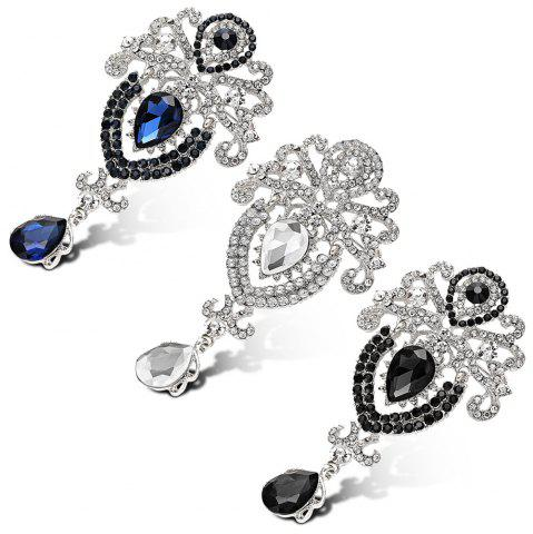 Chic Water Drop Fake Crystal Rhinestoned Brooch - BLUE  Mobile