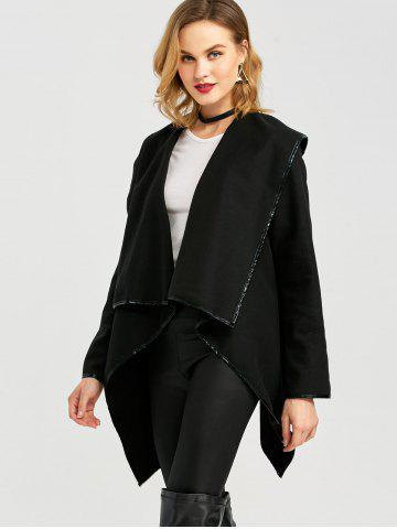 Discount Long Sleeve Long Woolen Cardigan Type Coat - BLACK 2XL Mobile