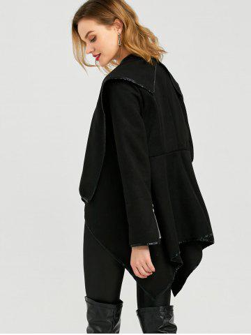 Affordable Long Sleeve Long Woolen Cardigan Type Coat - BLACK 2XL Mobile