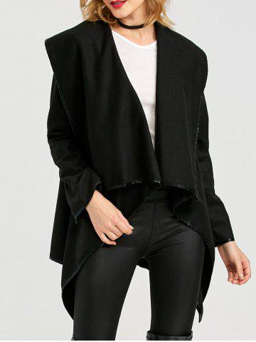 Shop Long Sleeve Long Woolen Cardigan Type Coat - BLACK 2XL Mobile