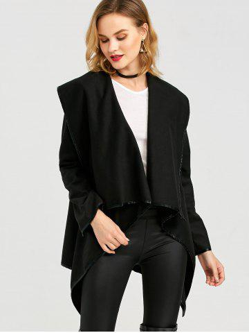 Chic Long Sleeve Long Woolen Cardigan Type Coat - BLACK 2XL Mobile