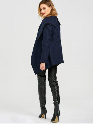 Online Long Sleeve Long Woolen Cardigan Type Coat - PURPLISH BLUE 3XL Mobile