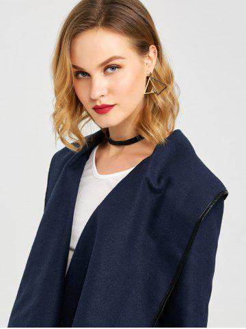 Discount Long Sleeve Long Woolen Cardigan Type Coat - PURPLISH BLUE 3XL Mobile