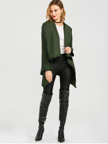 Unique Long Sleeve Long Woolen Cardigan Type Coat - ARMY GREEN XL Mobile