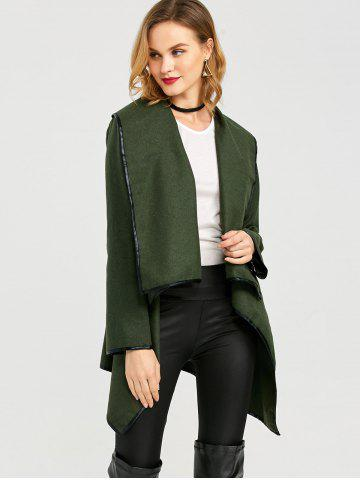Sale Long Sleeve Long Woolen Cardigan Type Coat - ARMY GREEN XL Mobile