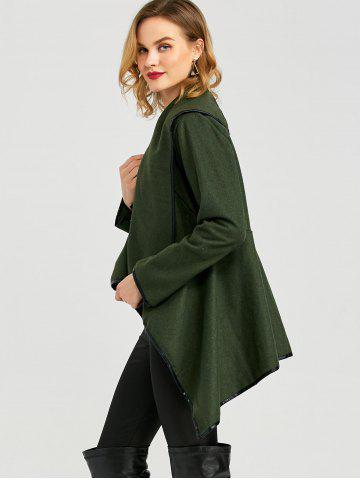 Discount Long Sleeve Long Woolen Cardigan Type Coat - ARMY GREEN XL Mobile