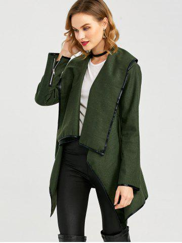 Online Long Sleeve Long Woolen Cardigan Type Coat - ARMY GREEN XL Mobile