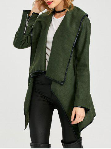 Online Long Sleeve Long Woolen Cardigan Type Coat - ARMY GREEN 3XL Mobile