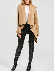 Long Sleeve Long Woolen Cardigan Type Coat - CAMEL