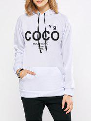 Casual Hooded Letter Print Women Cotton Blend Hoodie