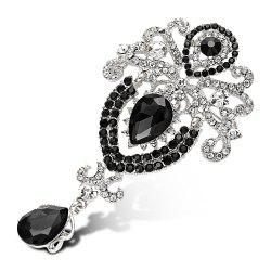 Water Drop Fake Crystal Rhinestoned Brooch - BLACK