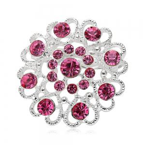 Hollow Out Rhinestoned Flower Shape Brooch - Pink