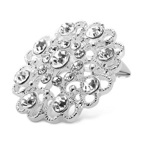 Shops Hollow Out Rhinestoned Flower Shape Brooch - WHITE  Mobile