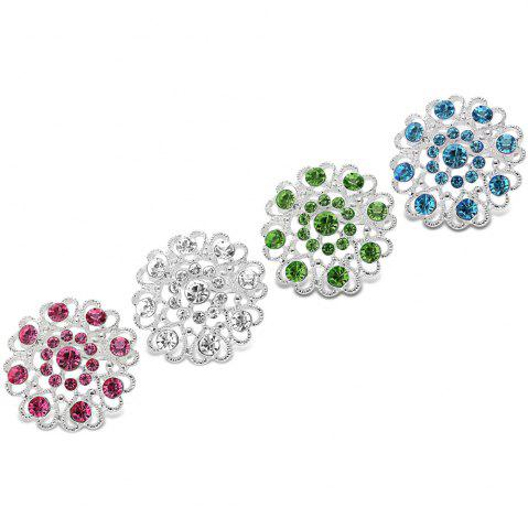 Chic Hollow Out Rhinestoned Flower Shape Brooch - WHITE  Mobile