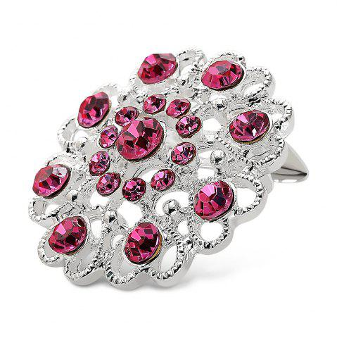 Sale Hollow Out Rhinestoned Flower Shape Brooch - PINK  Mobile