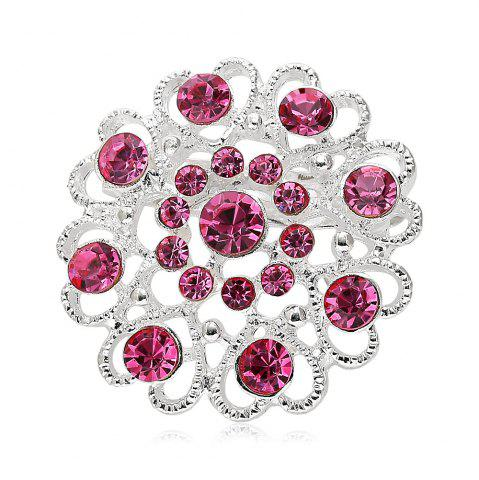 Shops Hollow Out Rhinestoned Flower Shape Brooch - PINK  Mobile