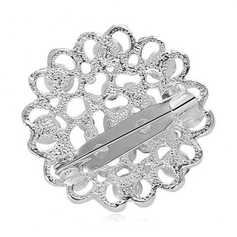 Discount Hollow Out Rhinestoned Flower Shape Brooch - LAKE BLUE  Mobile