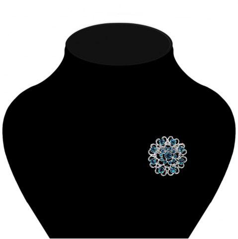 Affordable Hollow Out Rhinestoned Flower Shape Brooch - LAKE BLUE  Mobile