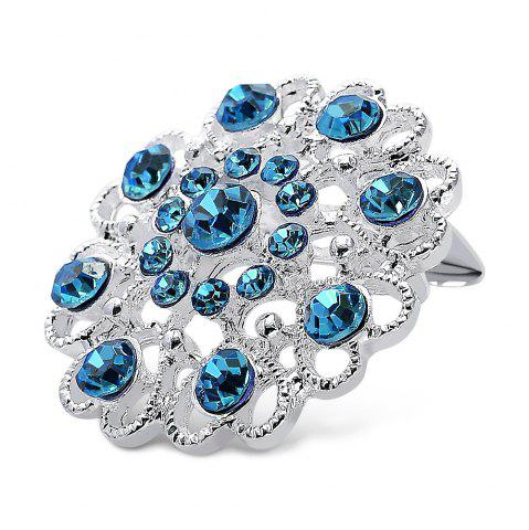 Chic Hollow Out Rhinestoned Flower Shape Brooch - LAKE BLUE  Mobile