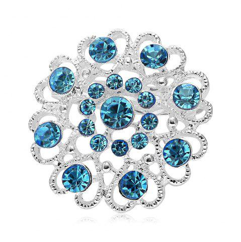 Sale Hollow Out Rhinestoned Flower Shape Brooch - LAKE BLUE  Mobile