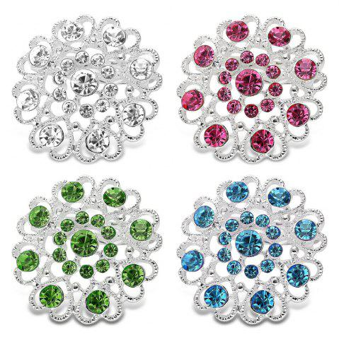 Hot Hollow Out Rhinestoned Flower Shape Brooch - LAKE BLUE  Mobile