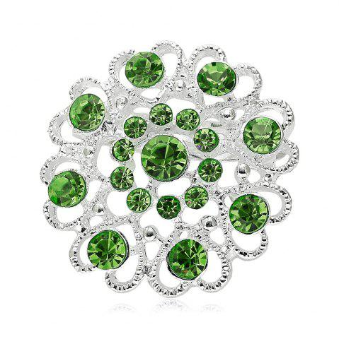 Chic Hollow Out Rhinestoned Flower Shape Brooch - GRASS GREEN  Mobile