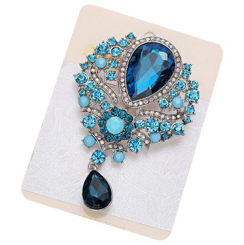 Online Water Drop Fake Crystal Rhinestone Brooch - BLUE  Mobile