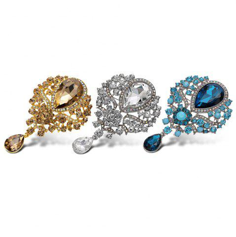 Buy Water Drop Fake Crystal Rhinestone Brooch - BLUE  Mobile