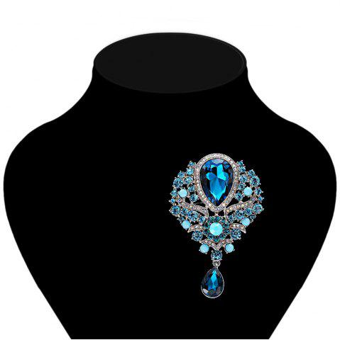 Store Water Drop Fake Crystal Rhinestone Brooch - BLUE  Mobile