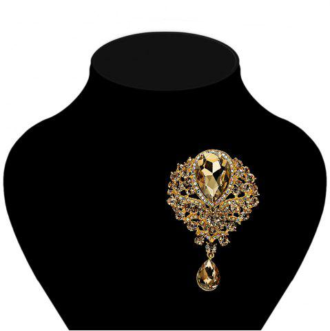 Shops Water Drop Fake Crystal Rhinestone Brooch - CHAMPAGNE GOLD  Mobile